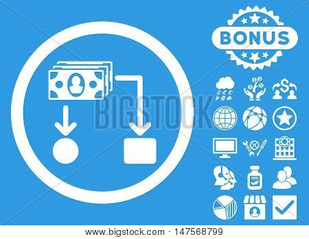 Cashflow icon with bonus design elements. Vector illustration style is flat iconic symbols, white color, blue background.