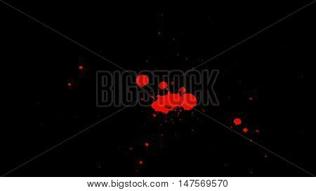 Many small droplets of blood splash on Transparent Background with Alpha Channel. Easy use in motion design 4K