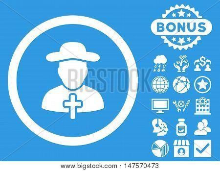 Clergy icon with bonus elements. Vector illustration style is flat iconic symbols, white color, blue background.