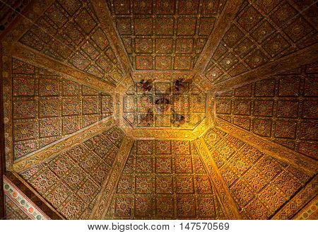 FUERTEVENTURA, SPAIN - SEPTEMBER 16, 2015: The ceiling in Cathedral Church of Saint Mary of Betancuria in Fuerteventura Canary Islands Spain