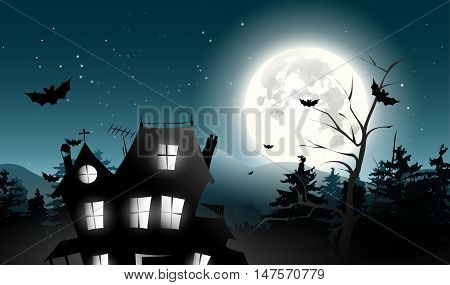 Halloween background with big tree bats  home halloween background or party invitation with haunted house and bats