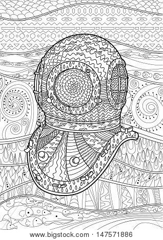 Antique divers helmet hand draw with high details. Coloring pages for adult. Abstract pattern with oceanic elements for relax coloring for grown ups in zentangle style. Vector