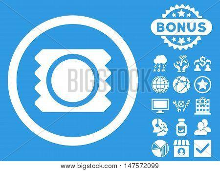 Condom icon with bonus design elements. Vector illustration style is flat iconic symbols, white color, blue background.