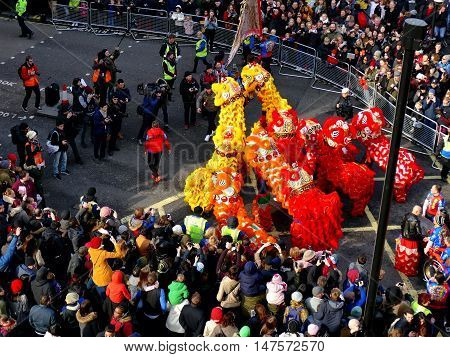 London, Uk - 14 February 2016: Press Moment For Lions Parade In Chinese New Year 2016