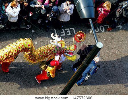 London, Uk - 14 February 2016: Dragon Dance Close Up In Chinese New Year 2016
