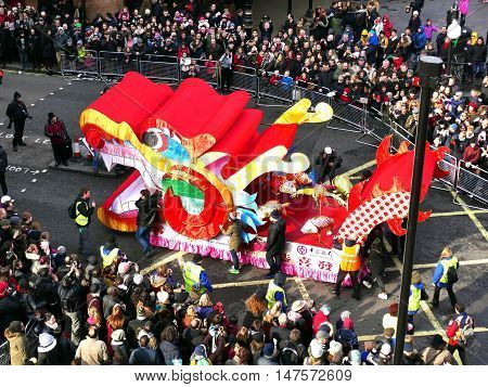 London, Uk - 14 February 2016: Dragon Wagon In Chinese New Year 2016