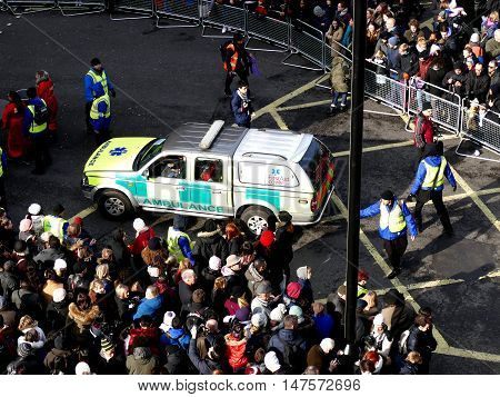 London, Uk - 14 February 2016: Ambulance First Aid Car Last In Row In Parade Of Chinese New Year 201