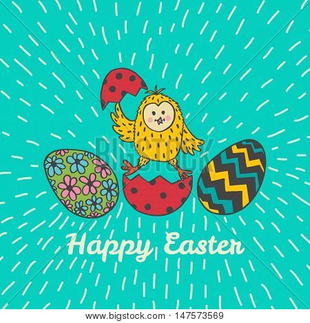 Happy Easter card with chick and eggs. Vector illustration of Easter ornamental card with chick on blue background.