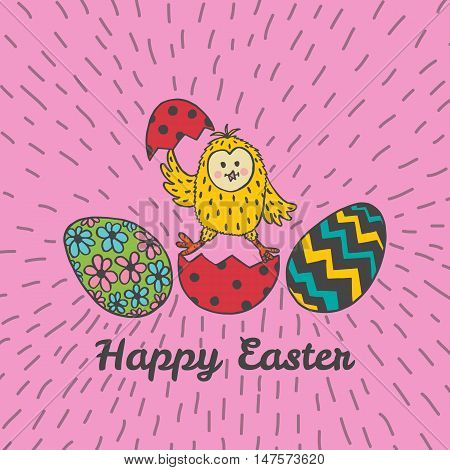 Happy Easter card with chick and eggs. Vector illustration of Easter ornamental card with chick on pink background.