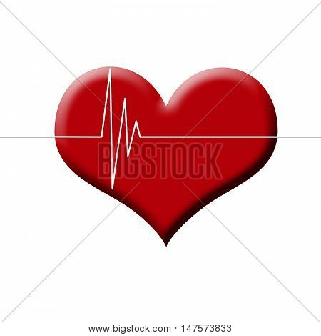 Illustration Of Heart Beat Monitor On Red Heart Isolated On White