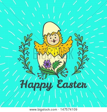 Happy Easter card with chick and egg. Vector illustration of Easter ornamental card with chick on blue background.