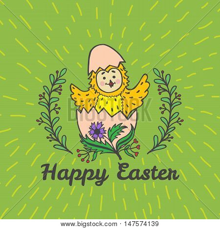 Happy Easter card with chick and egg. Vector illustration of Easter ornamental card with chick on green background.