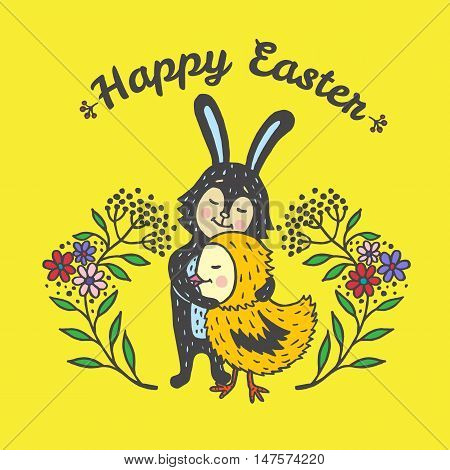 Happy Easter card with rabbit and chick. Vector illustration of Easter ornamental card with Bunny and chick on yellow background.