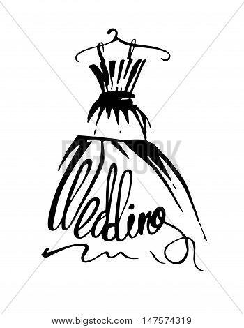 Fashion design illustration hand drawn. Woman wedding dress on hanger.
