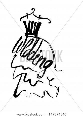 Fashion design vector illustration hand drawn. Woman dress isolated. wedding dress on hanger. Lettering.