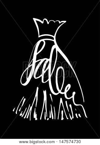Fashion design vector illustration hand drawn. Woman dress isolated. Dress with Sale on hanger. Lettering.