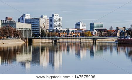 WROCLAW, POLAND - MARCH 19, 2016: Most Pokoju (Peace Bridge) over the Oder river built after World War II to replace Lessing Bridge destroyed during so called the siege of Breslau Festung.