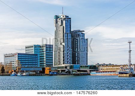 GDYNIA, POLAND - APRIL 10, 2016: The Sea Towers, multi-use skyscraper. Built in 2009 building is the 10th tallest building in Poland and the second tallest residential building in the country.