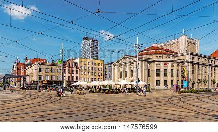 KATOWICE, POLAND - JULY 10, 2016: Stanislaw Wyspianski Silesian Theater, the largest scene in Silesia. Built as