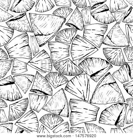 Vector seamless pattern of firewoods isolated on white background. Lumberjack print collection. Hand drawn vintage style art. Hipster trendy forest illustration.