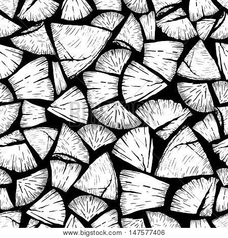 Vector seamless pattern of firewoods isolated on black background. Lumberjack print collection. Hand drawn vintage style art. Hipster trendy forest illustration.