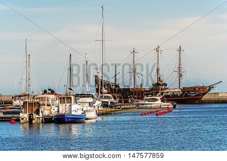 GDYNIA, POLAND - APRIL 10, 2016: Marina in Gdynia out of season. One of the most modern facilities of its kind in Poland hosting many sailing events i.a. Tall Ship Races or Wind and Water.