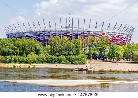 WARSAW, POLAND - MAY 2, 2016: The National Stadium designed for UEFA EURO 2012. With its retractable roof and advanced infrastructure the stadium remains one of the most modern sport facility in Europe.