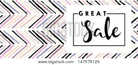 Vector flyer for great sale. Square text template including lettering on white background. Chevron modern brush spot in trendy pastel colors. Use for business fashion promotion.