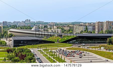 KATOWICE, POLAND - MAY 27, 2016: Sports hall Spodek built in the shape of a flying saucer in the early seventies of the 20th century. Arena hosted FIVB Volleyball Men's World Championship in 2014.