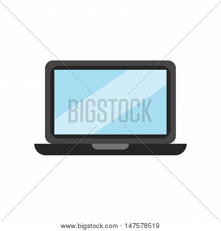 Laptop  flat icon. Vector laptop close up silhouette illustration. Concept pc silhouette. Colorful open pc icon for your design. Flat cartoon laptop silhouette isolated.