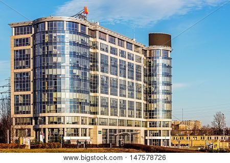 KATOWICE, POLAND - JANUARY 30, 2016: Katowice Business Point office building. One of the best structures of this type in the area, seat of many leading local and international corporations.