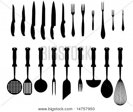silhouettes of kitchen accessories,  various types of knives