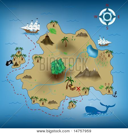 vector illustration of pirate treasure map poster