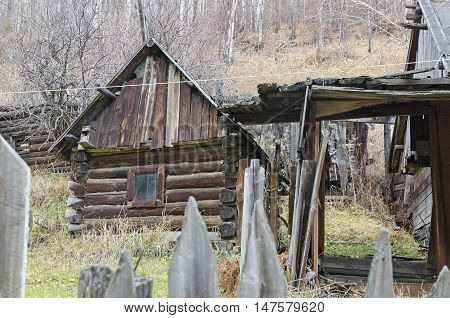 Old houses in Port Baikal village on the shore of Lake Baikal. Circum-Baikal Railway