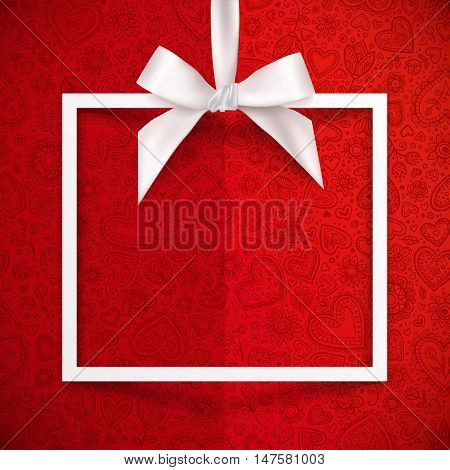 White paper squared frame hanging on silky ribbon with bow, vector Valentines day background, greeting card template