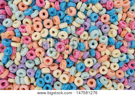 Colorful Sugary Cereal Background that is horizontal