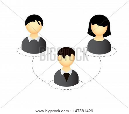 Vector business people icon with connection motive isolated over white background.