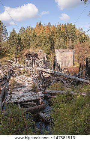 Destroyed railway bridge on Meherenga in the Arkhangelsk region of Russia