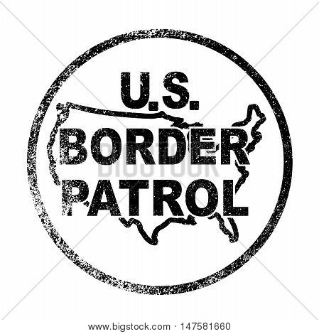 A rubber ink stamp of the United States Border Control button