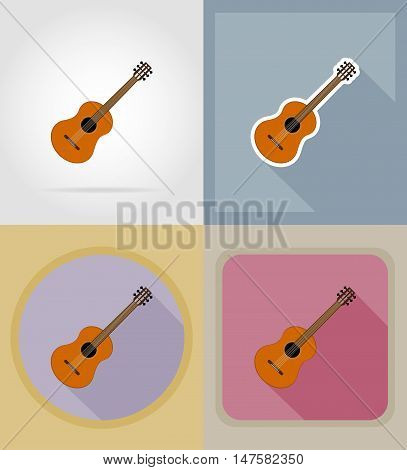 acoustic guitar flat icons vector illustration isolated on background