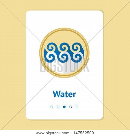 Element, symbol of feng shui in flat design: water. Web design banner, layout. Concept