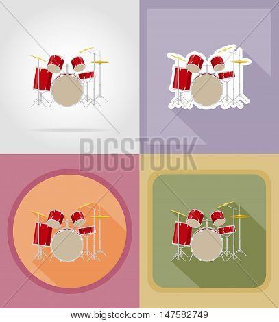 drum set kit flat icons vector illustration isolated on background