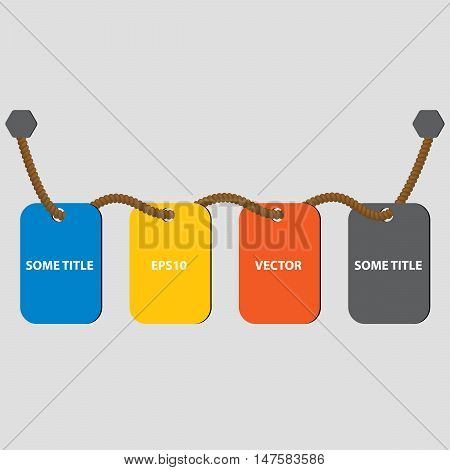 Four cards on the rope. Cards for timeline or guide steps. Web timeline elements. Four colors. Vector illustration