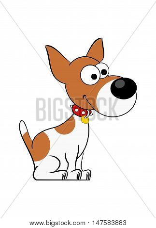 Cartoon illustration of a cute Jack Russell Terrier on white