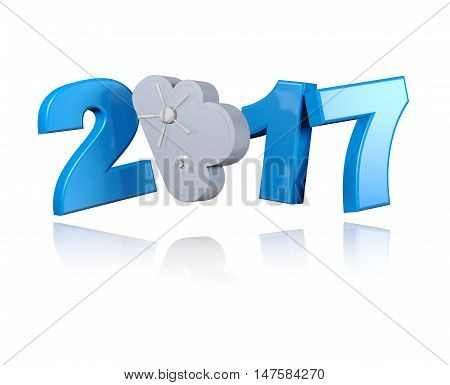 3D illustration of Locked Cloud 2017 design with a White Background