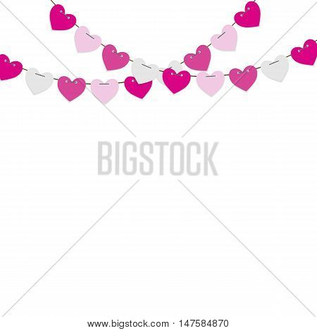Party Background with Heart Shaped Flags Vector Illustration. EPS10