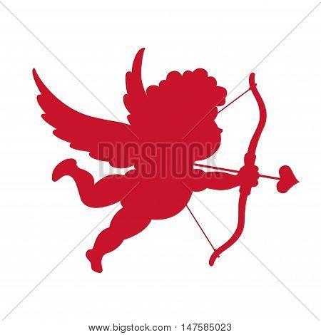 Silhouette of Cupid. Little angel. Vector illustration