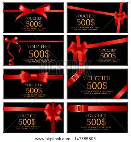 Gift Voucher with Red Bow and Ribbon Set Template For Your Business. Vector Illustration EPS10