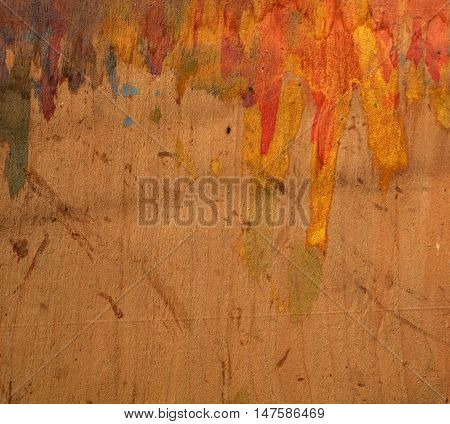 Painted grunge orange and brown pasteboard background