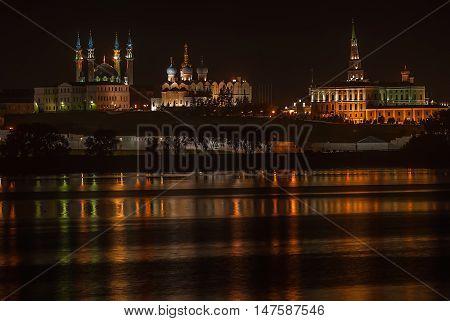 Kazan Kremlin. Mosque Kul Sharif. Tatarstan Russia. Night landscape shallow DOF
